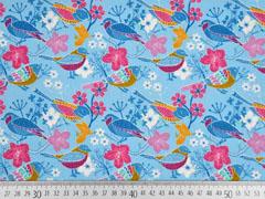 Baumwollstoff Vögel Blumen, hellblau