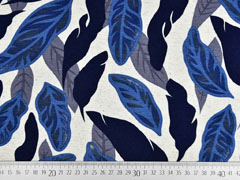 Viskosejerseystoff mit Leinen Blätter, dunkelblau natur