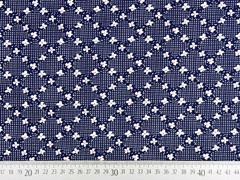 Viskosejersey Blumen Pünktchen, weiß dunkelblau