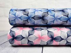 Viskosejersey Blumen, blau