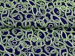 Viskosejersey Ketten Kreise, hellgrün dunkelblau