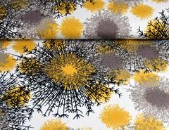 Viskosejersey grafische Pusteblumen, schwarz ocker weiß