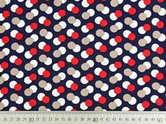 Viskosejersey Punkte, rot weiß dunkelblau