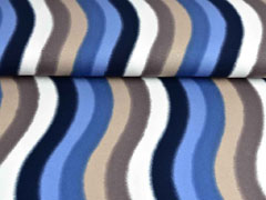 Viskosejersey geschwungene Streifen, blau beige
