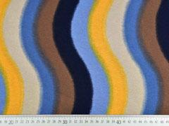 Viskosejersey geschwungene Streifen, ocker dunkelblau