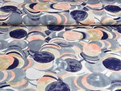 T-Shirtstoff Kreise, apricot grau cremeweiß