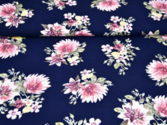 RESTSTÜCK 36 cm Viskose Blumen Dahlien, dunkelblau