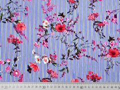Viskose Streifen Blumenzweige, blau weiß