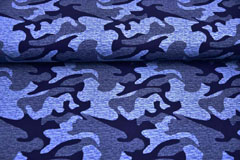 French Terry Sweat Viskose Camouflage, blau