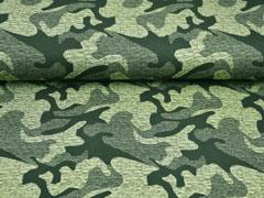 French Terry Sweat Viskose Camouflage, khaki