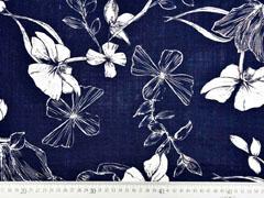 Baumwolle Viskose Blumenblätter, dunkelblau
