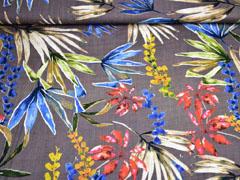 Baumwolle Viskose tropische Blätter, mattes Braun
