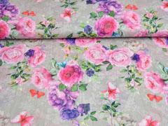 Blusenstoff Rosen Schmetterlinge Crinkle, grau