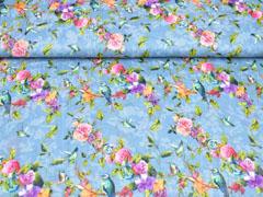 Blusenstoff Vögel Rosen Crinkle, bunt jeansblau
