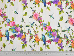 Blusenstoff Vögel Rosen Crinkle,  bunt cremeweiß