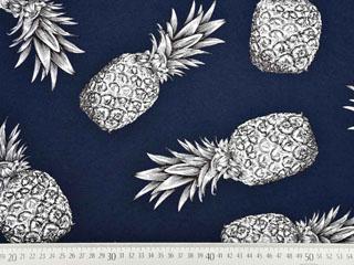 Blusenstoff große Ananas Leinenlook, dunkelblau