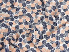 elastischer Blusenstoff gestreifte Punkte, aprikot dunkelblau weiß