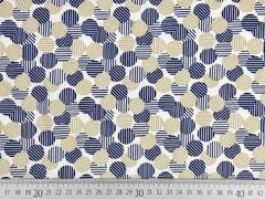 elastischer Blusenstoff gestreifte Kreise, beige dunkelblau weiß
