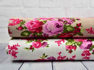 Viskose Leinen Rosen, rosa weiß