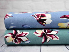 Viskose Leinen große Blumen Magnolien, altmint