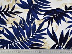 Viskose Leinen Palmblätter, dunkelblau cremeweiß