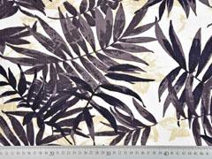 Viskose Leinen Palmblätter, braun cremeweiß