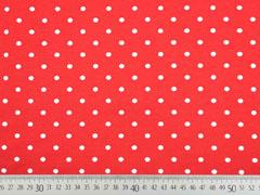 Jerseystoff Punkte 5 mm, weiß rot