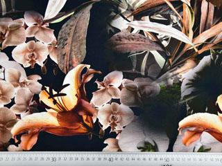 Jersey Blumen Lilien Hibiskus Digitaldruck, schwarz