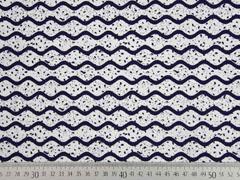 Dekostoff Wellen Farkkleckse, dunkelblau weiss