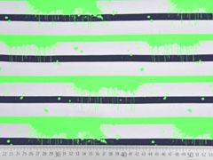 Jersey Streifen 1 cm Farbkleckse, neongrün schwarz weiß
