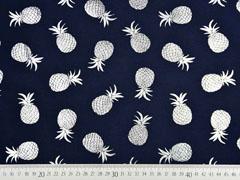Jersey Ananas Silber metallic, dunkelblau