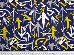Dekostoff Leinenlook Pfeile Graffiti Style, senfgelb dunkelblau