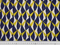 Dekostoff Leinenlook geometrisches Muster, senfgelb dunkelblau natur
