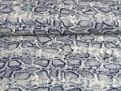 Blusenstoff Crepe Schlangenmuster, grau