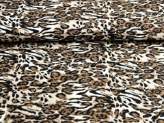 Blusenstoff Crepe Leopardenmuster, braun
