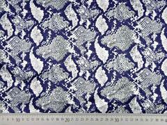 Blusenstoff Satin Schlangenmuster elastisch, grau cremeweiß dunkelblau