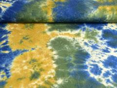 Jersey Batiklook, blau grün ocker