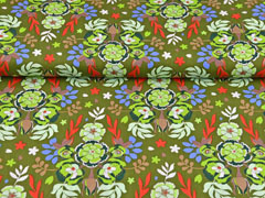 Baumwollstoff Blumen Knospen Blätter, hellgrün khaki