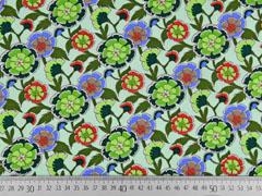 Baumwollstoff Blumen, khaki hellgrün