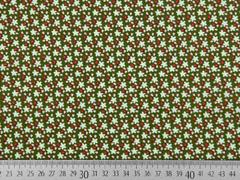 Baumwollstoff Streublümchen Blätter, khaki