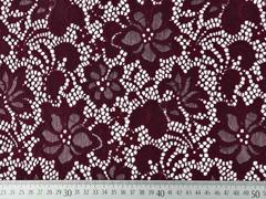 elastischer Spitzenstoff Blumen, weinrot