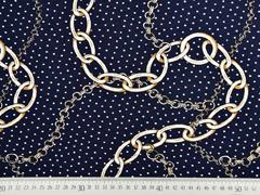 RESTSTÜCK 105 cm Viskosejersey Ketten Punkte, dunkelblau