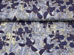 Viskosejersey abstraktes Blumenmuster, jeansblau