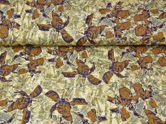 Viskosejersey abstraktes Blumenmuster, ocker