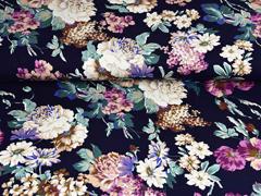 RESTSTÜCK 130 cm Viskosejersey Pfingstrosen Blumen, flieder mint dunkelblau