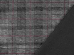 Punto di Roma Heavy Stretchjersey Glencheck,weinrot grau schwarz