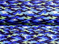 Softshell Stoff Jackenstoff Camouflagemuster, hellgrün blau