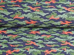 Softshell Stoff Jackenstoff Camouflagemuster, orange khaki