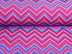 RESTSTÜCK 147 cm Softshell Stoff Jackenstoff Zickzack Strickoptik mit Neonfleece, blau bordeaux