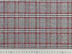 Jacquard Jersey Glencheck, rot schwarz weiß
